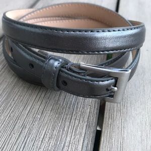 Talbots DK grey metallic leather belt Sz L
